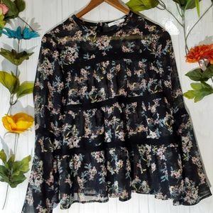 Ro & De sheer black floral pop-over top